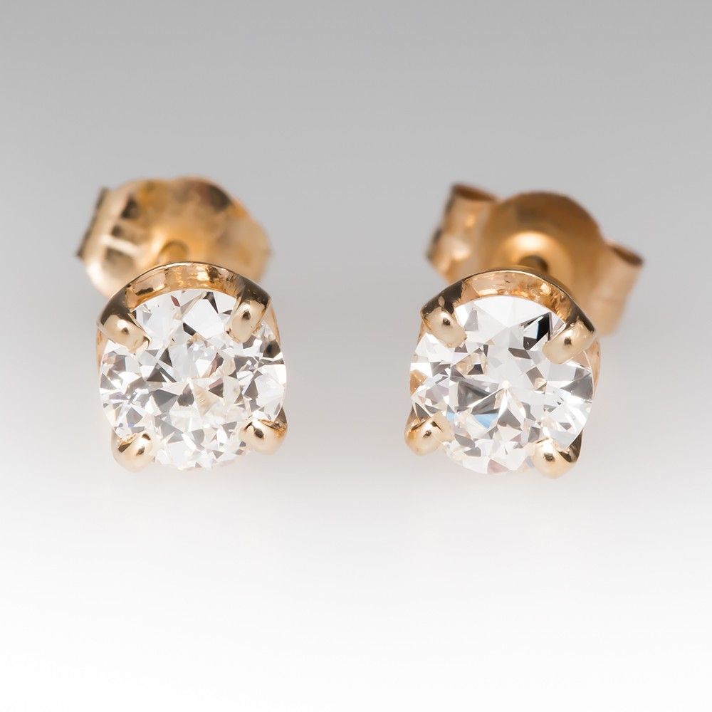 Old Euro Diamond Stud Earrings 14K Yellow Gold