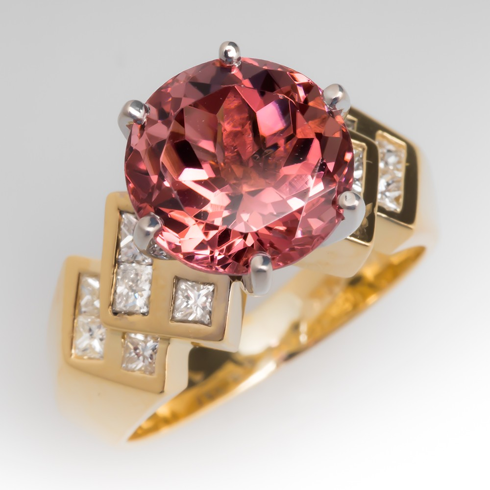 4.3 Carat Pink Tourmaline Ring w/ Diamond Accents 18K