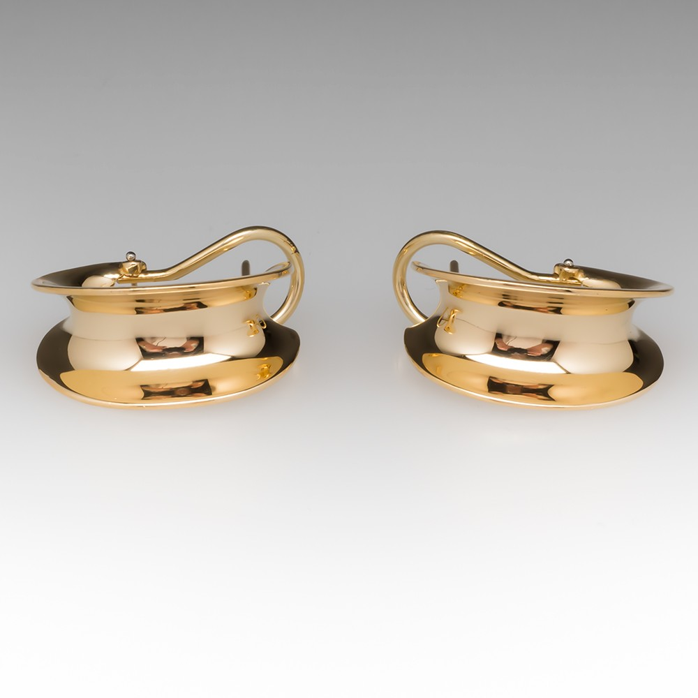 18K Concave Style Half Hoop Earrings by Jean Francois Albert
