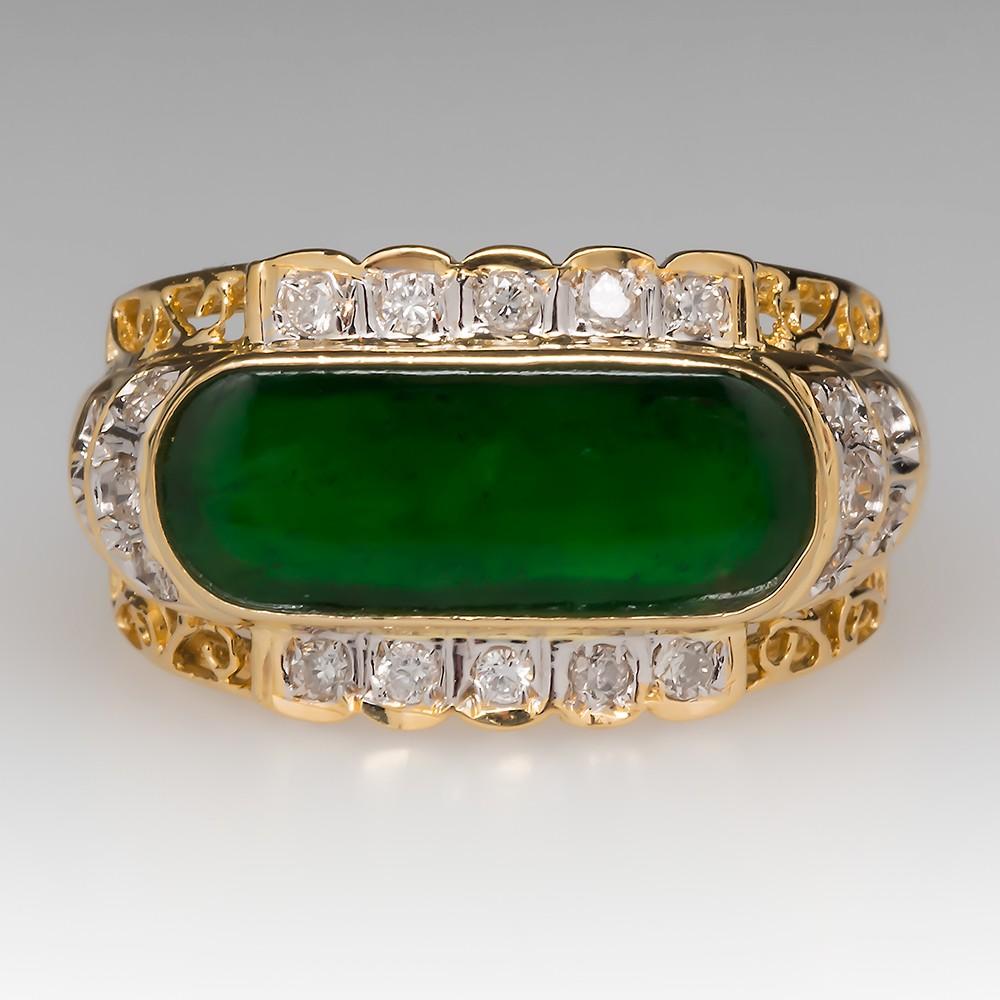 Vintage A-Jade & Diamond 18K Yellow Gold Unisex Ring