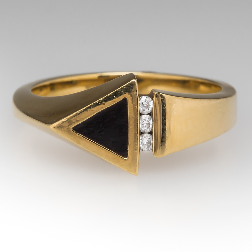Bernard K Passman Arrow Diamond Black Coral Ring 18K Gold