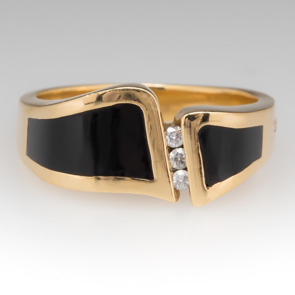 Bernard K Passman Wave Breaker Mens Ring Black Coral Diamonds 18K Gold