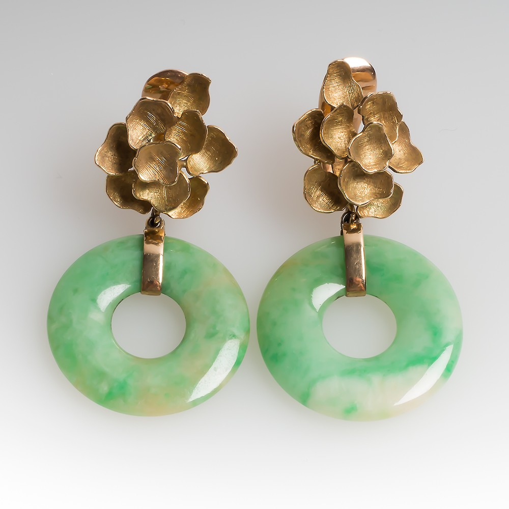 Jadeite Jade Disc Vintage Dangle Earrings Floral 14K Gold