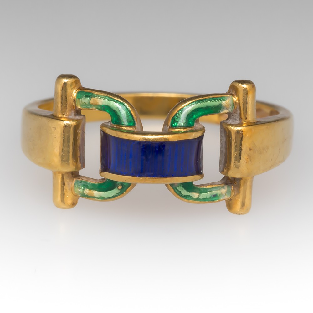 Vintage Enamel Buckle Ring 18K Yellow Gold