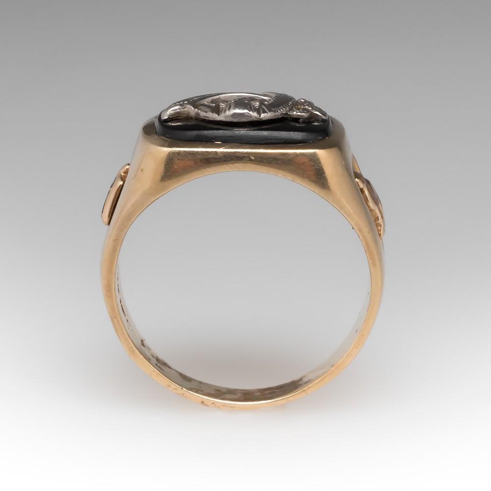 Men's Black Onyx Shriner Ring 10K Yellow Gold