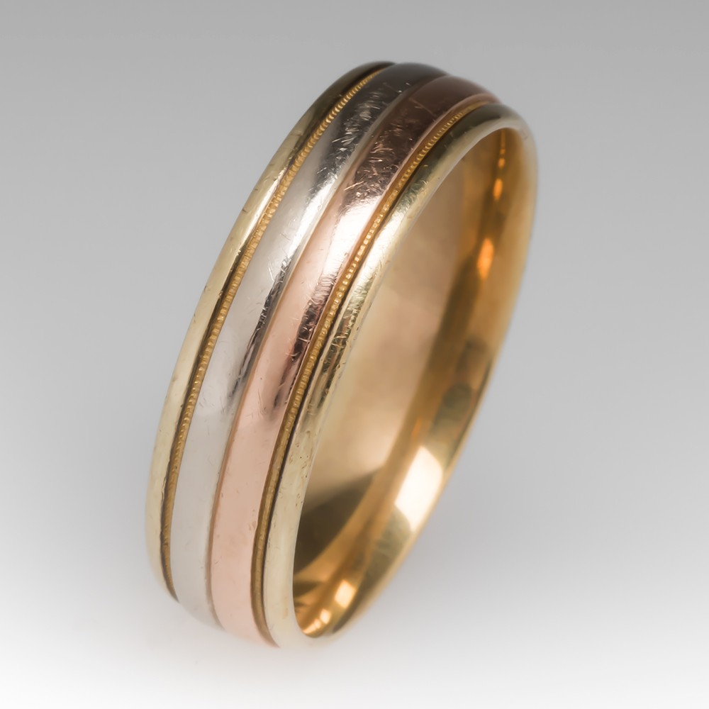 14K Tri-Color Gold Band Ring, Size 13