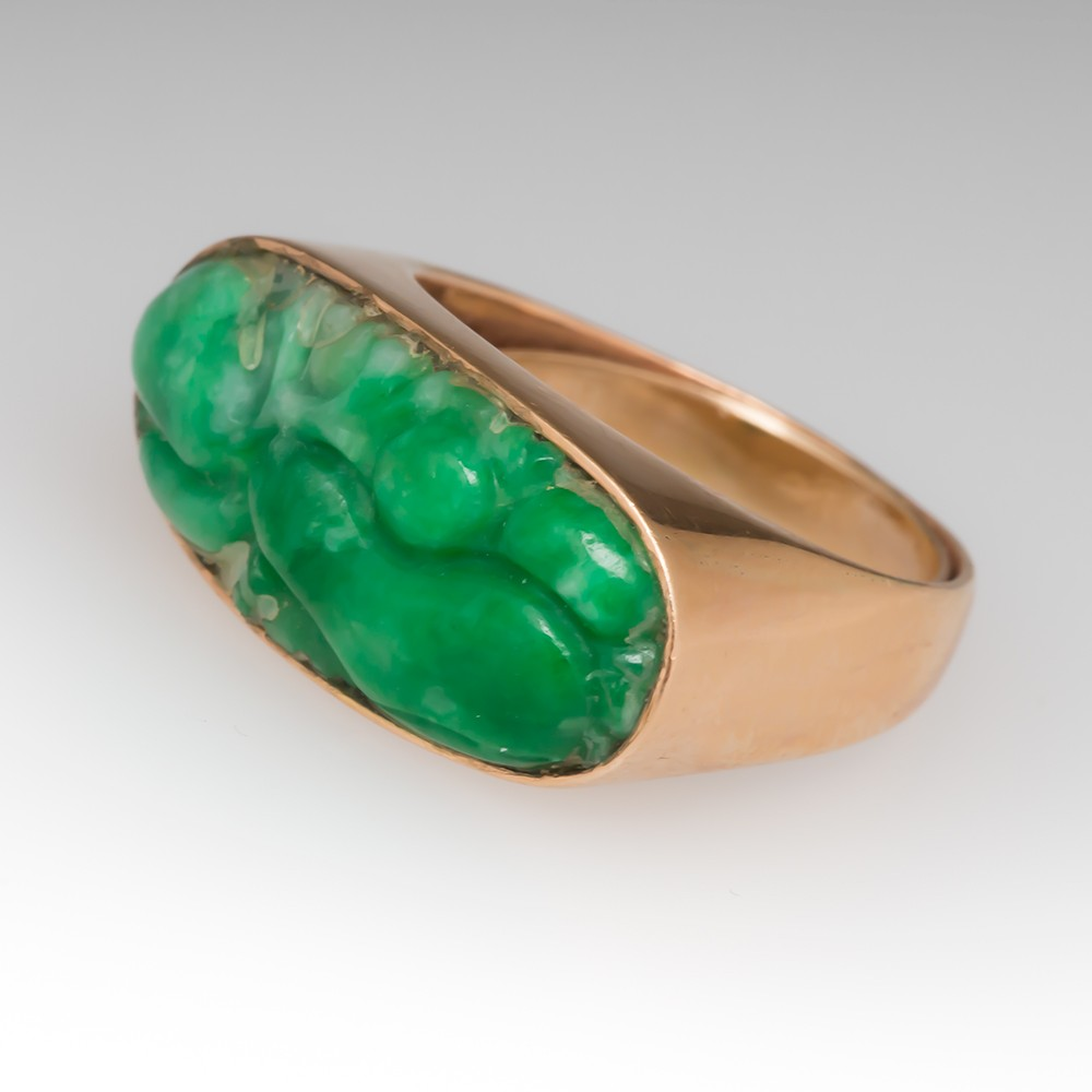 Carved Natural Jadeite Jade 14K Yellow Gold Ring