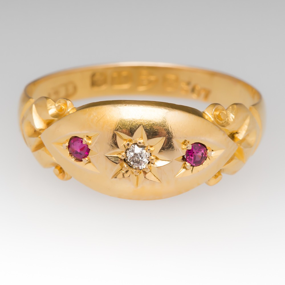 c1900 Victorian Era Old Miner Diamond & Ruby Band Ring 18K Gold