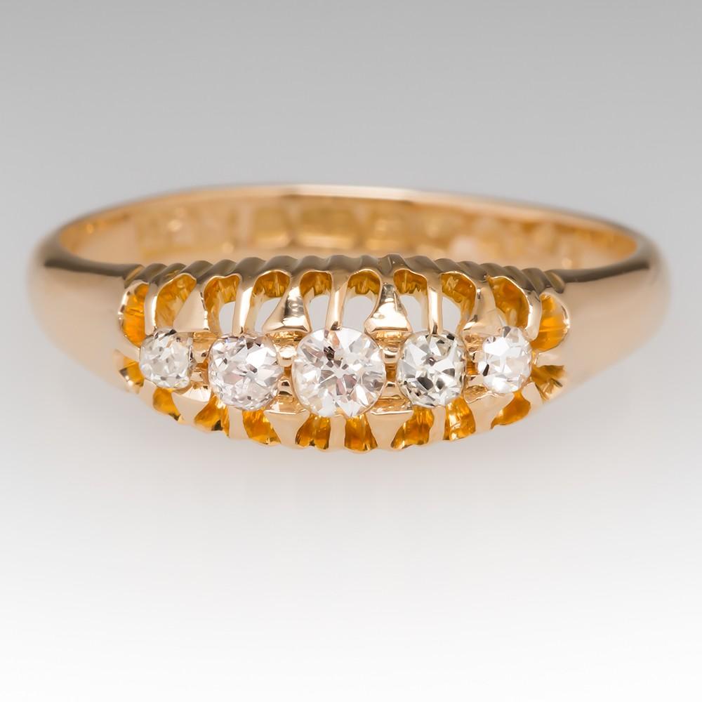 1908 Birmingham England Victorian 5 Stone Old European Cut Diamond Ring 18K