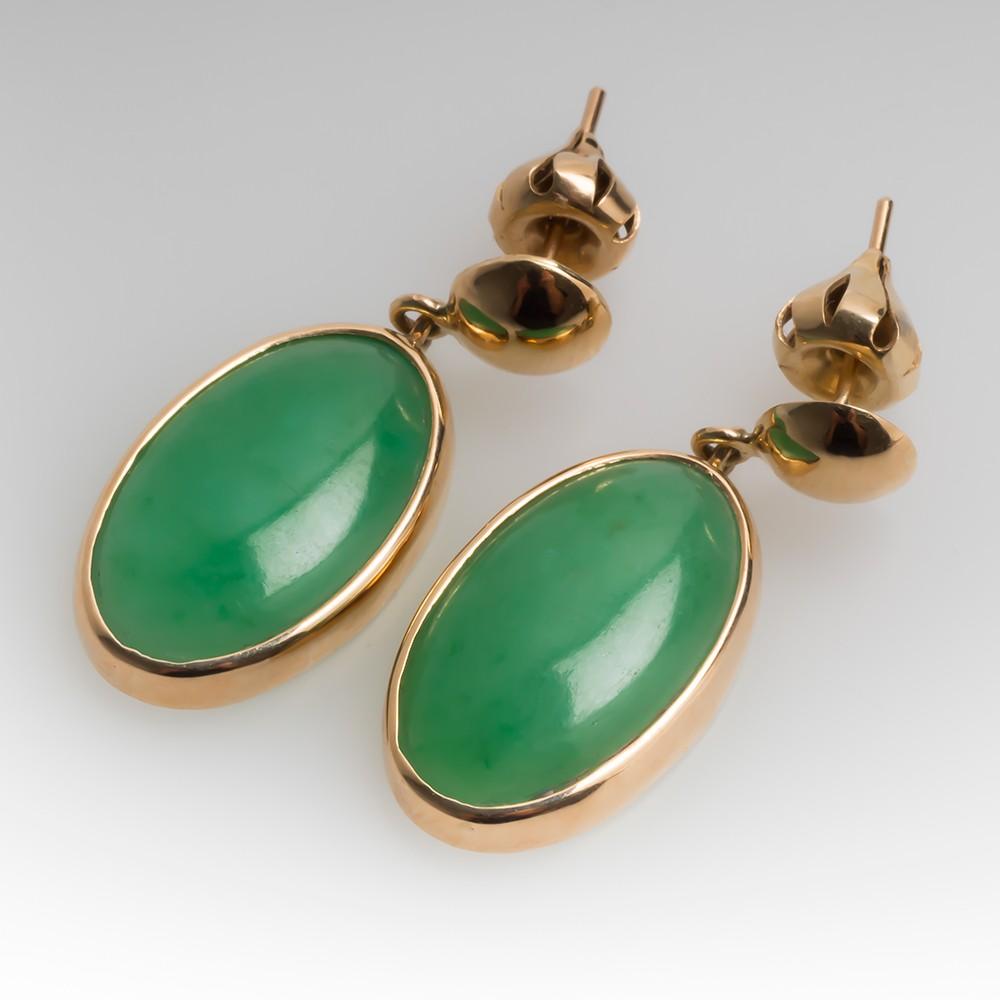 Jadeite Jade Bezel Set Dangle Earrings 14K Gold