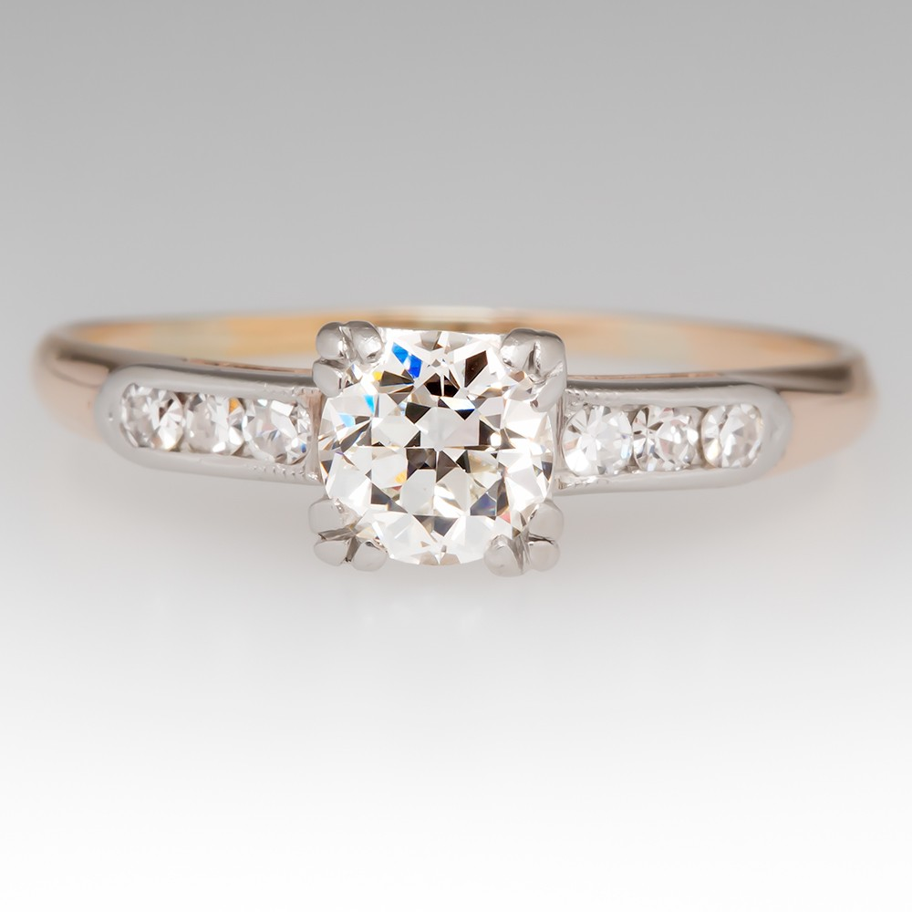 1940's Vintage Round Transitional Cut Diamond Ring