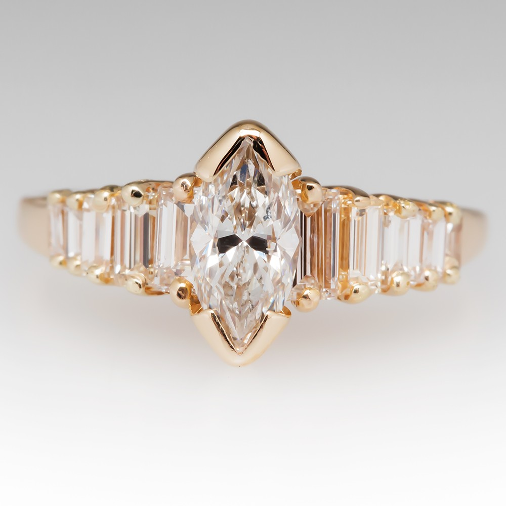 1/2 Carat Marquise Diamond Ring w/Baguette Accents 14K