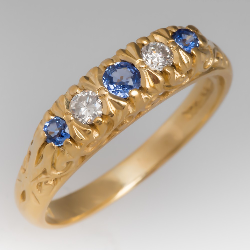 Blue Sapphire & Diamond Victorian Style 18K Gold Engraved Ring
