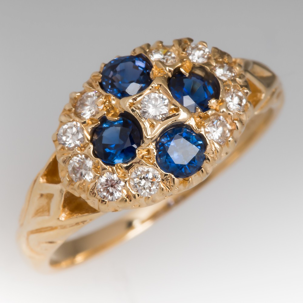 Vintage Bright Blue Sapphire & Diamond Cluster Ring w/ Engravings