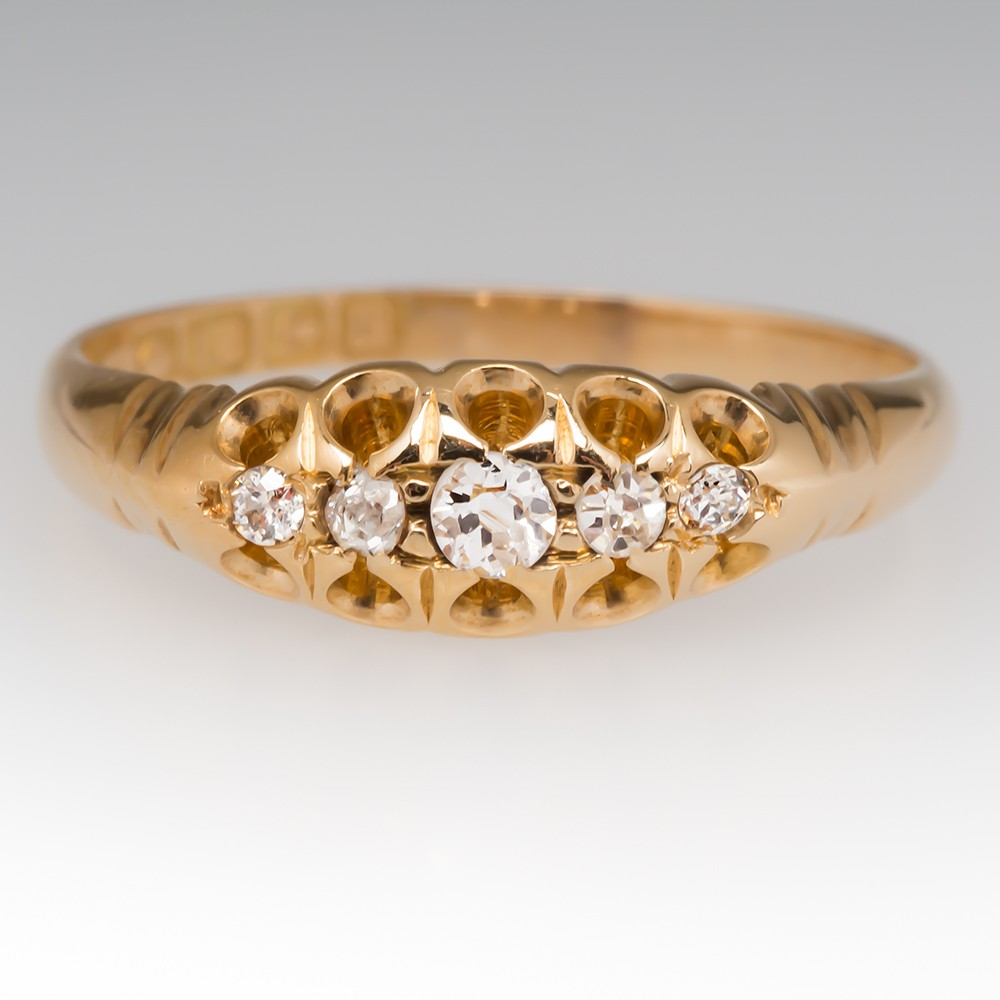 Victorian Five Diamond Ring 18K Gold Birmingham England 1911