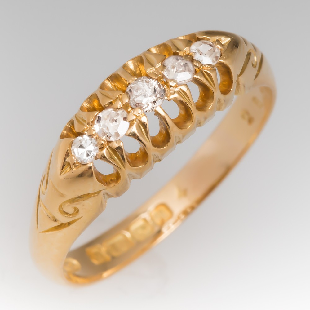 Circa 1915 Birmingham, England Diamond Band Ring 18K