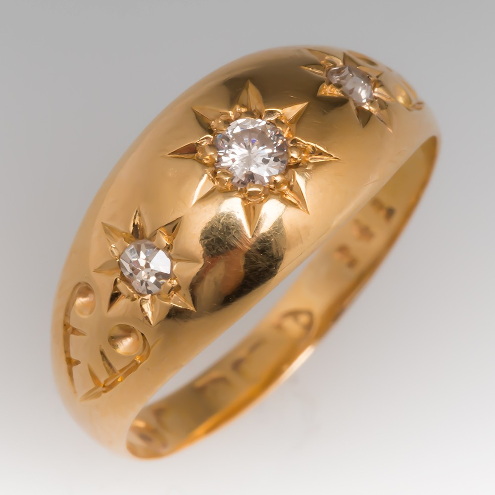 Victorian Style Three Diamond Detailed 18K Ring Chester Hallmarks