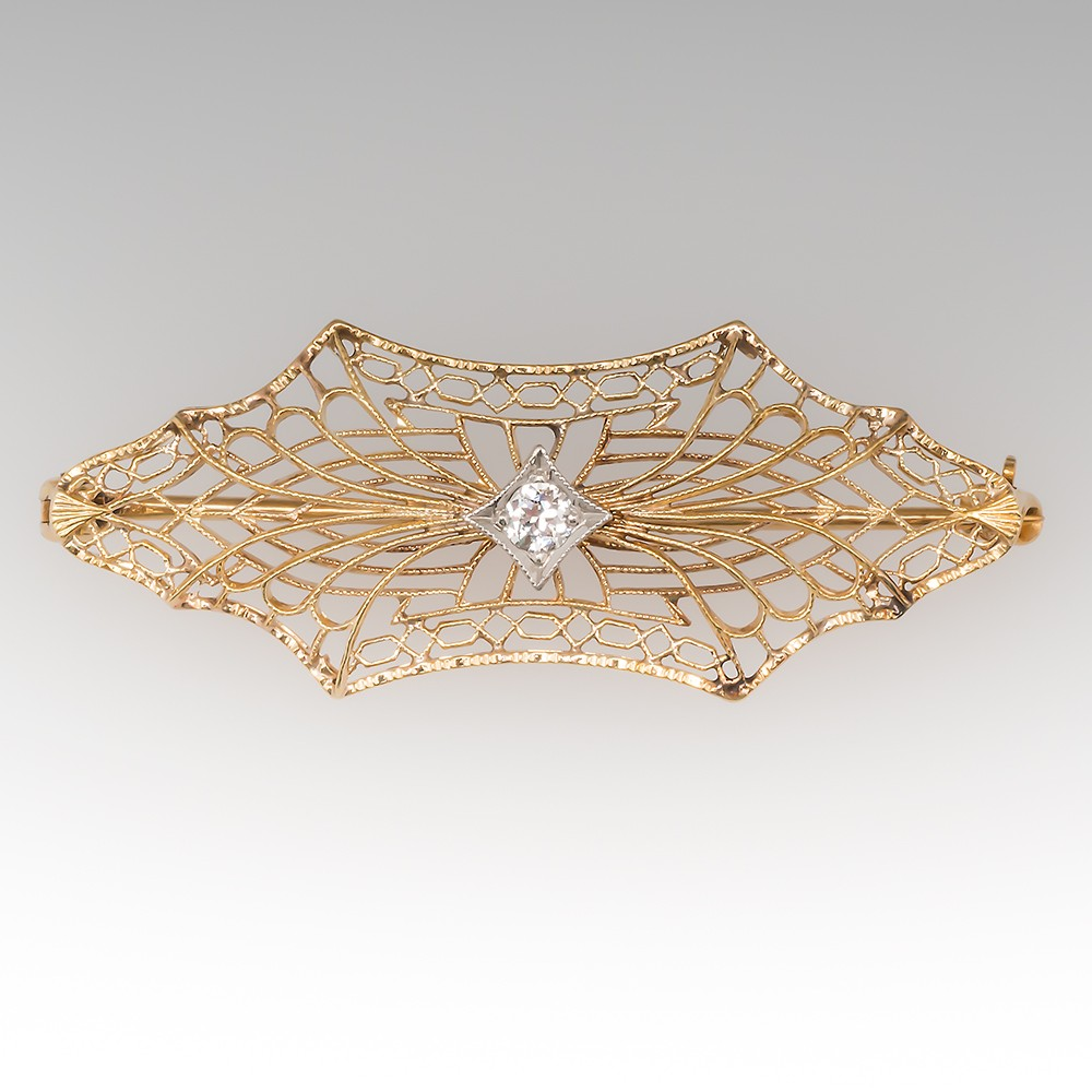 1920's Delicate Filigree Bow Design Diamond Pin 14K