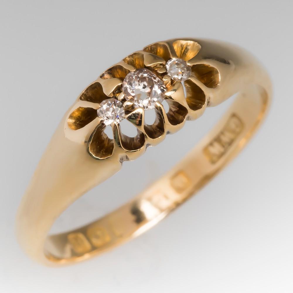 Victorian Era Mine Cut Diamond Three Stone Ring 18K Gold