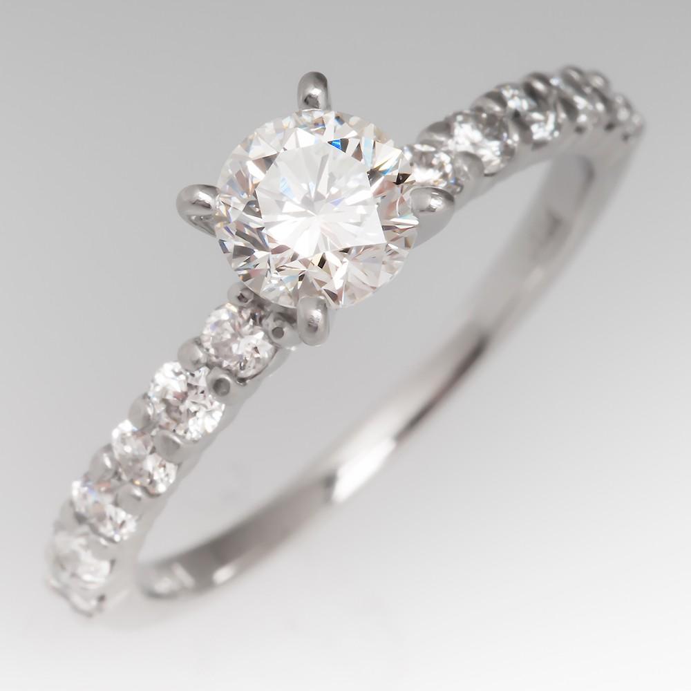 .71 Carat H/VS2 Round Diamond Platinum Ring w/ Brilliant Accents