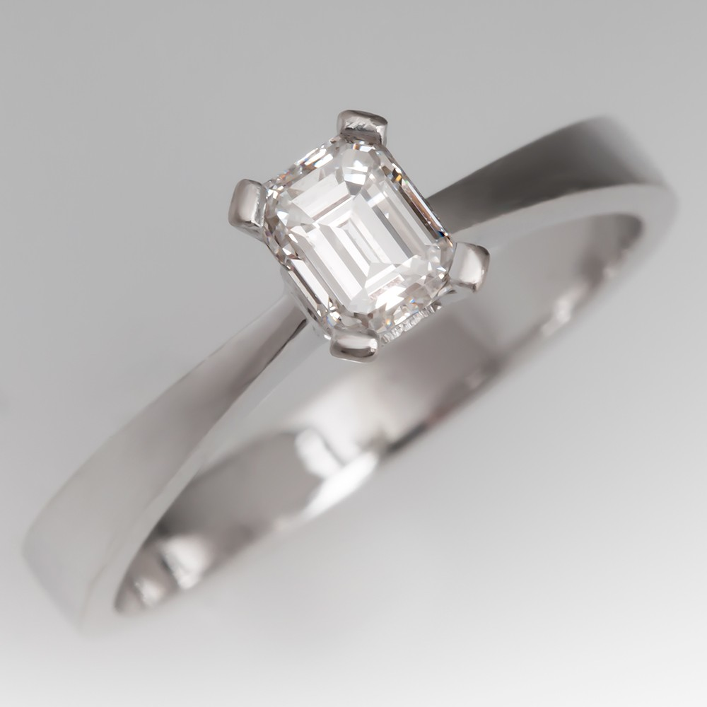 Petite Emerald Cut Diamond Solitaire Engagement Ring 18K White Gold