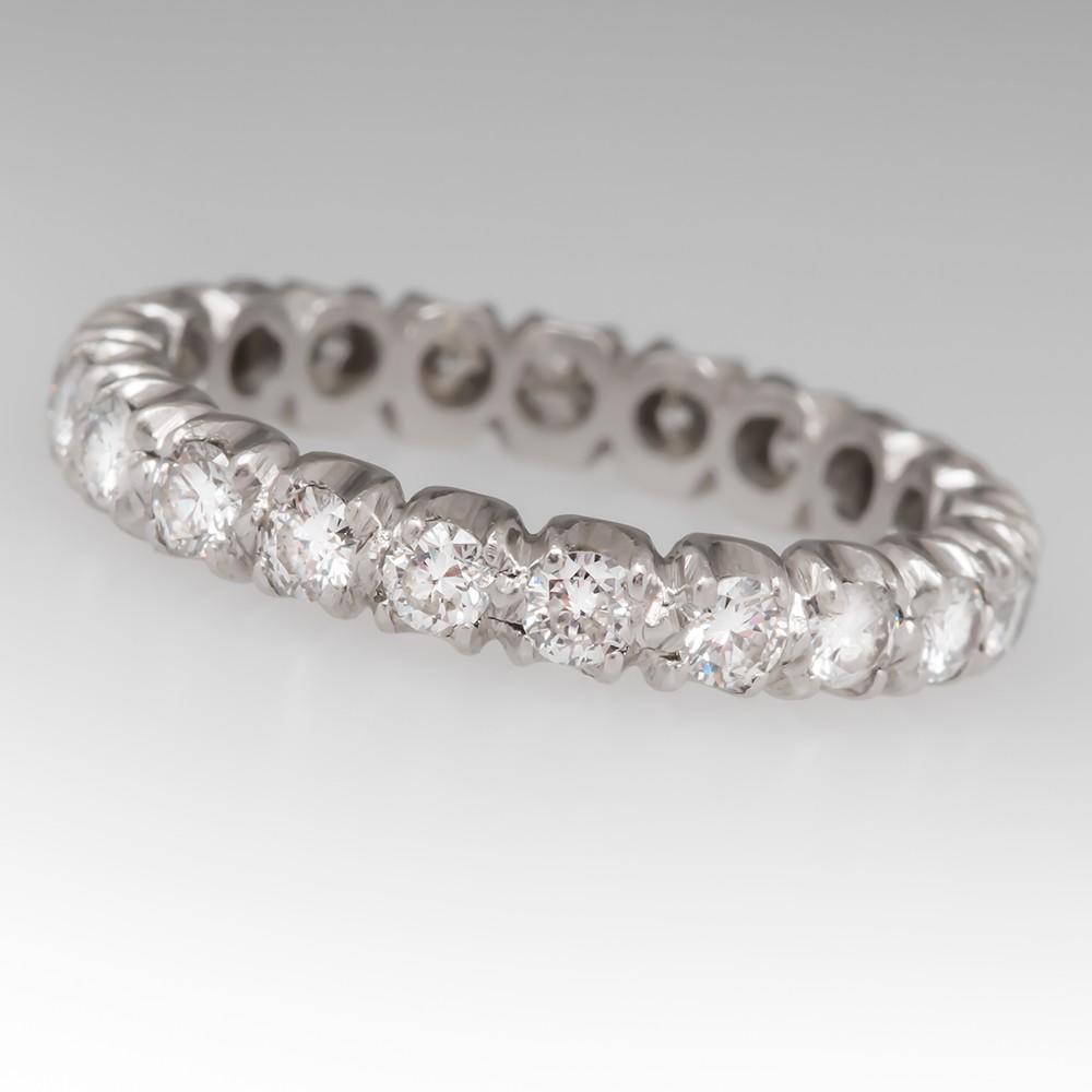 1.05CTW Diamond Platinum Eternity Band Ring size 5.25