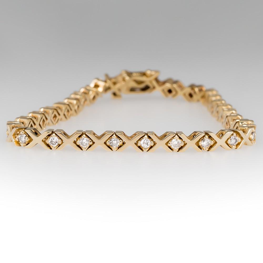 1.5 Carat Diamond Tennis Bracelet X-Link Design 14K