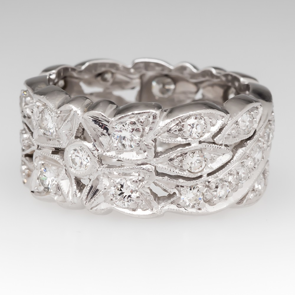 Wide Band Floral Platinum Diamond Band Art Deco Style
