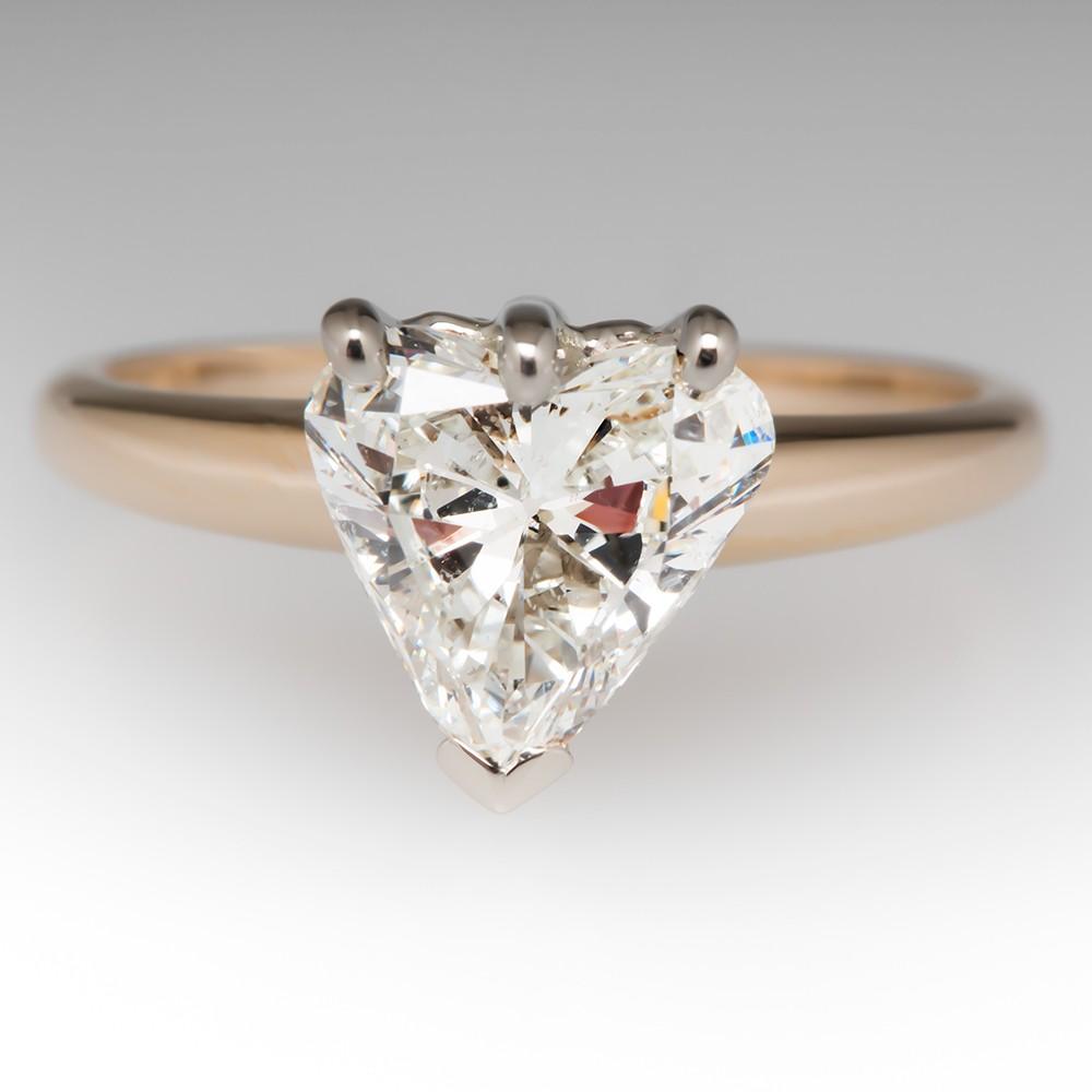 Vintage 1.54 Carat Heart Cut Diamond Engagement Ring