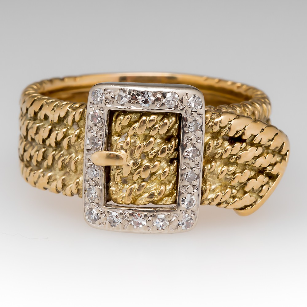 Belt Buckle Wide Band 18K Gold Vintage Diamond Ring