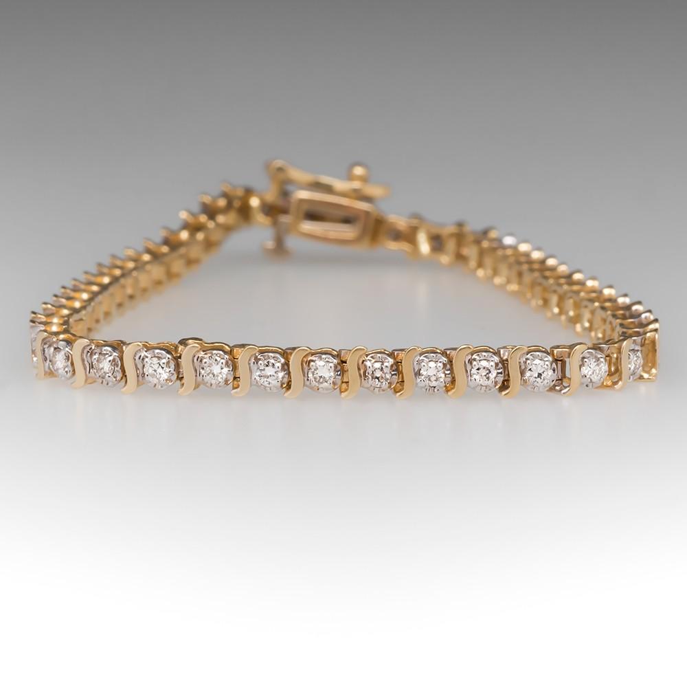 1/2 Carat Diamond Tennis Bracelet 14K Yellow Gold