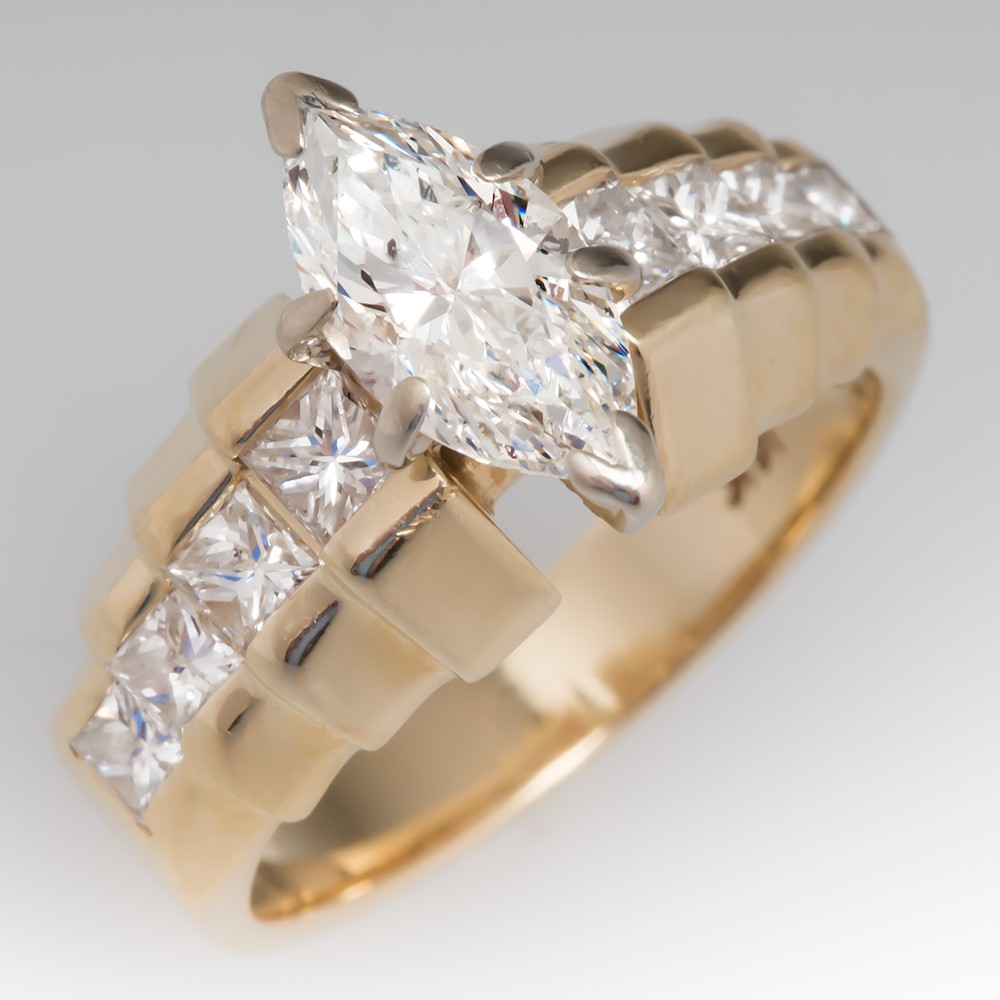 Vintage 1 Carat Marquise Diamond Ring w/ Princess Cut Accents 14K