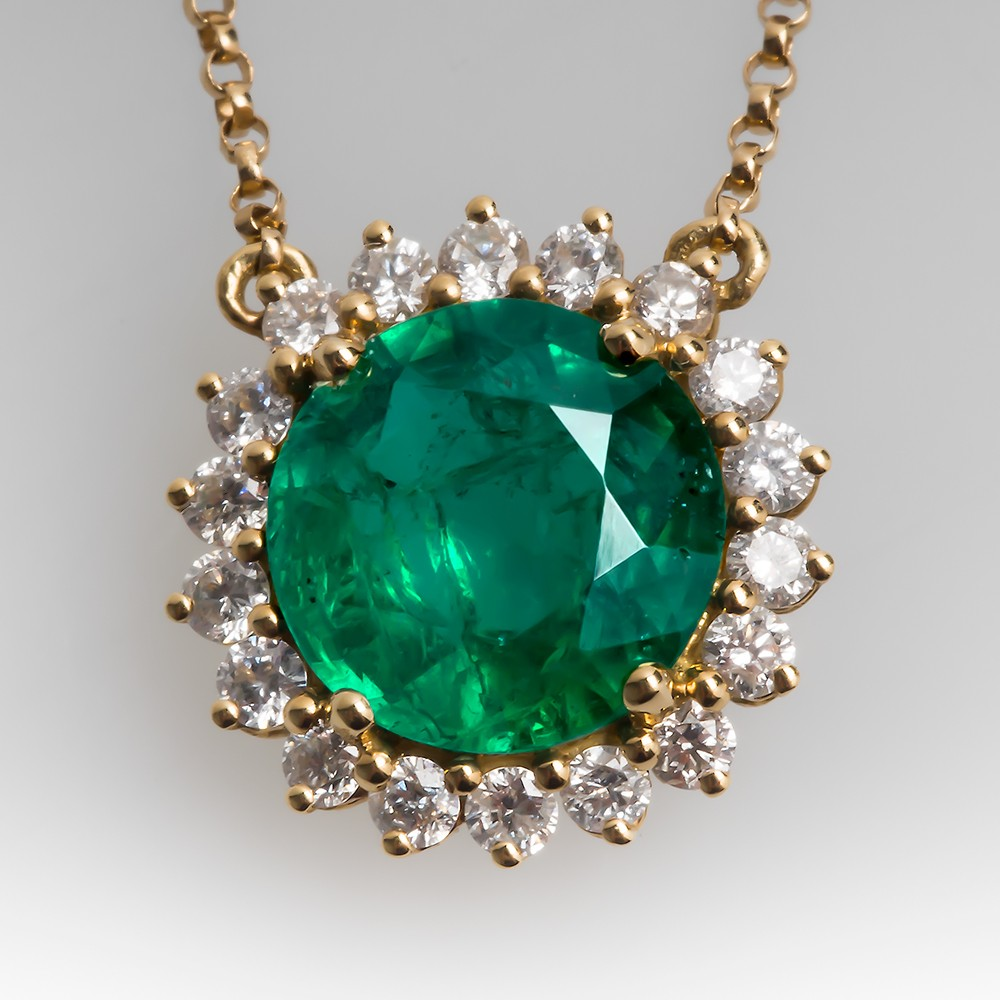 Beautiful Emerald & Diamond Halo Necklace 18K Gold