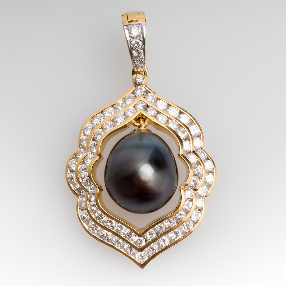 18K Gold Tahitian Pearl Pendant With Diamond Accents