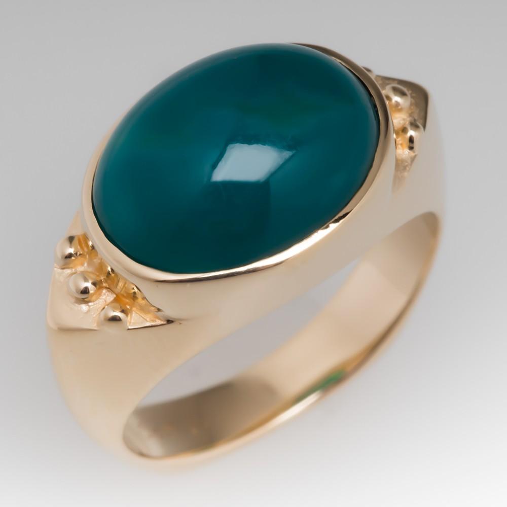 Vintage Oval Chrysocolla Cabochon Ring 14K