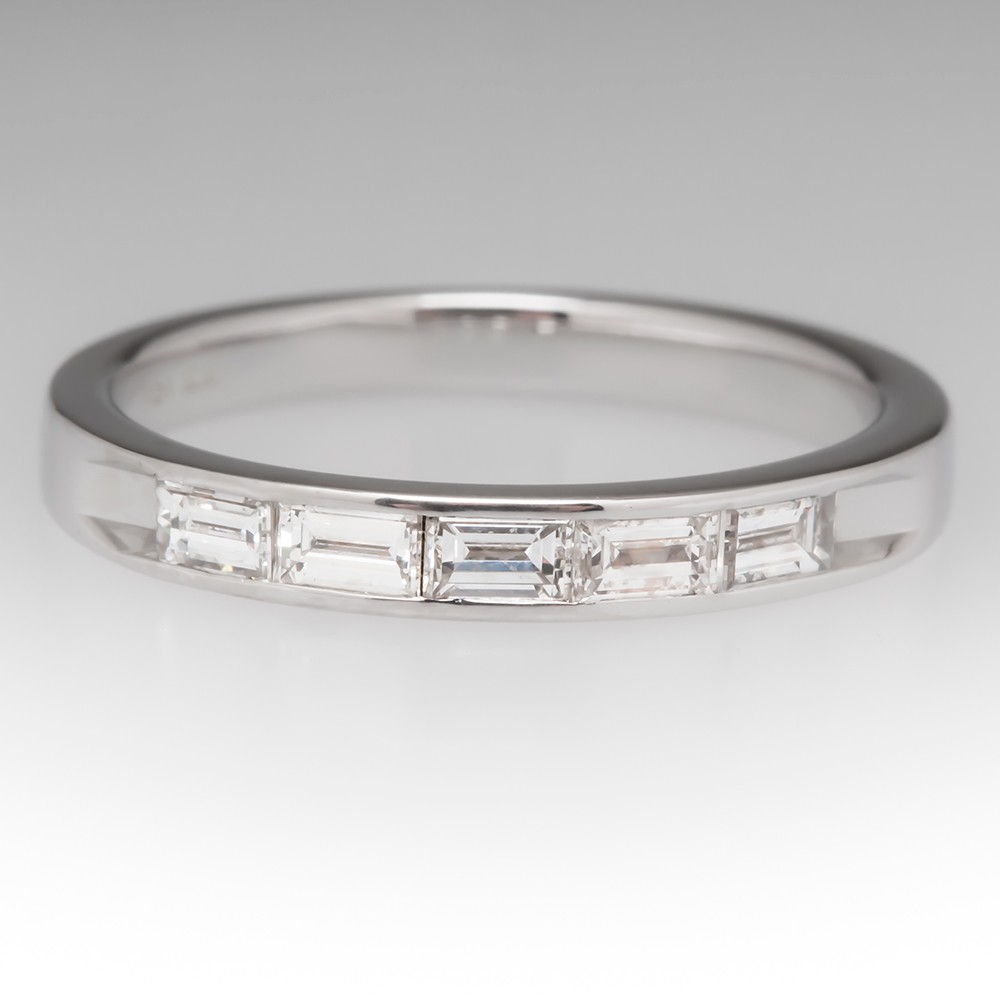 Channel Set Baguette Diamond Wedding Band Ring 18K
