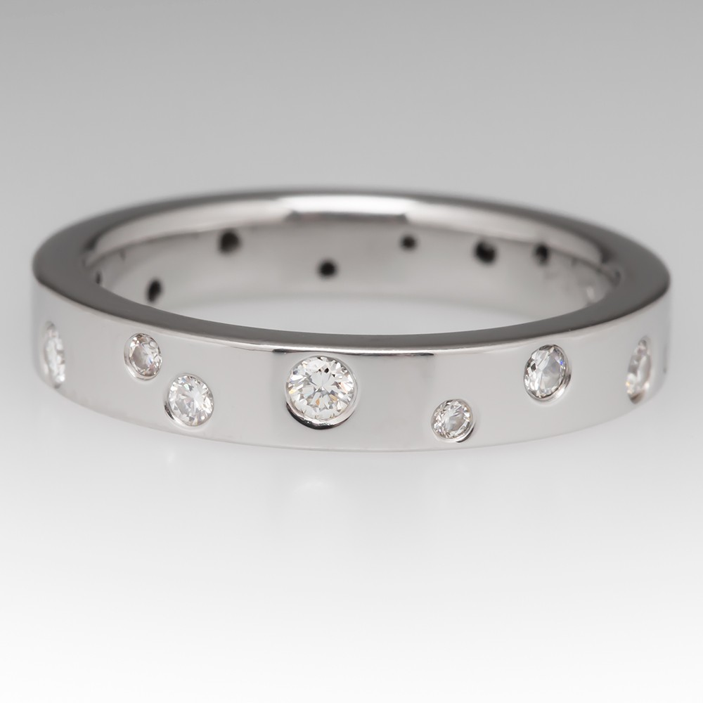 Platinum Band Inset w/ Round Brilliant Diamonds