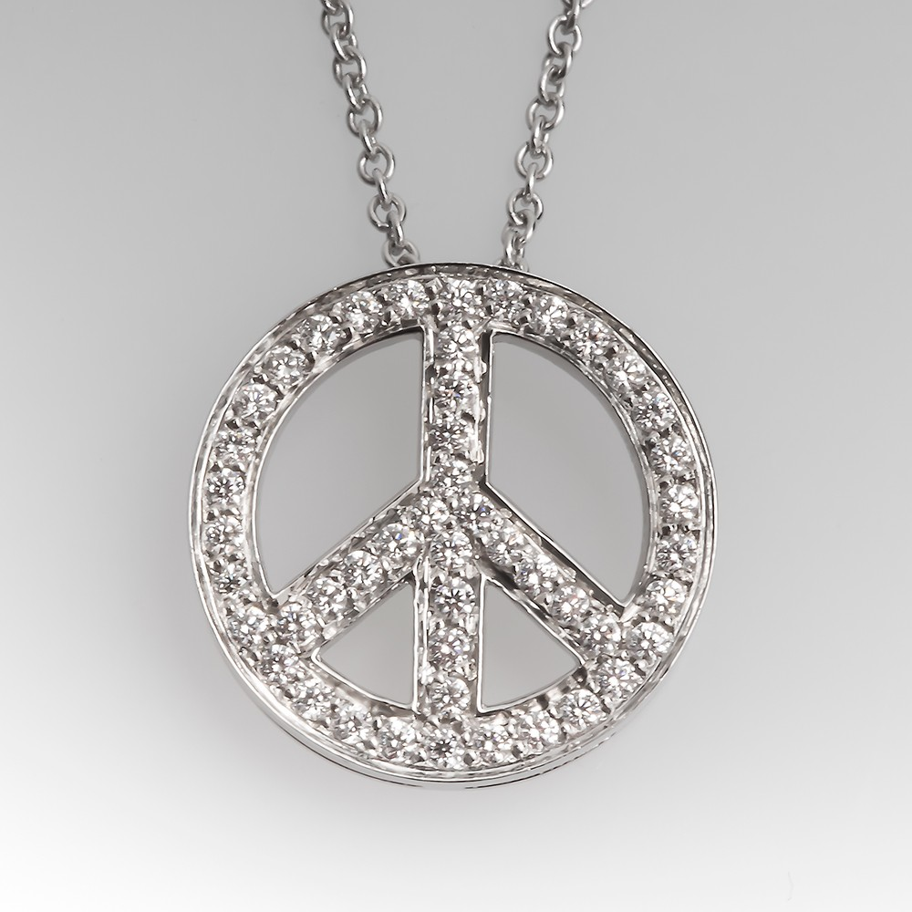 Tiffany & Co Platinum Diamond Peace Sign Pendant Necklace Platinum