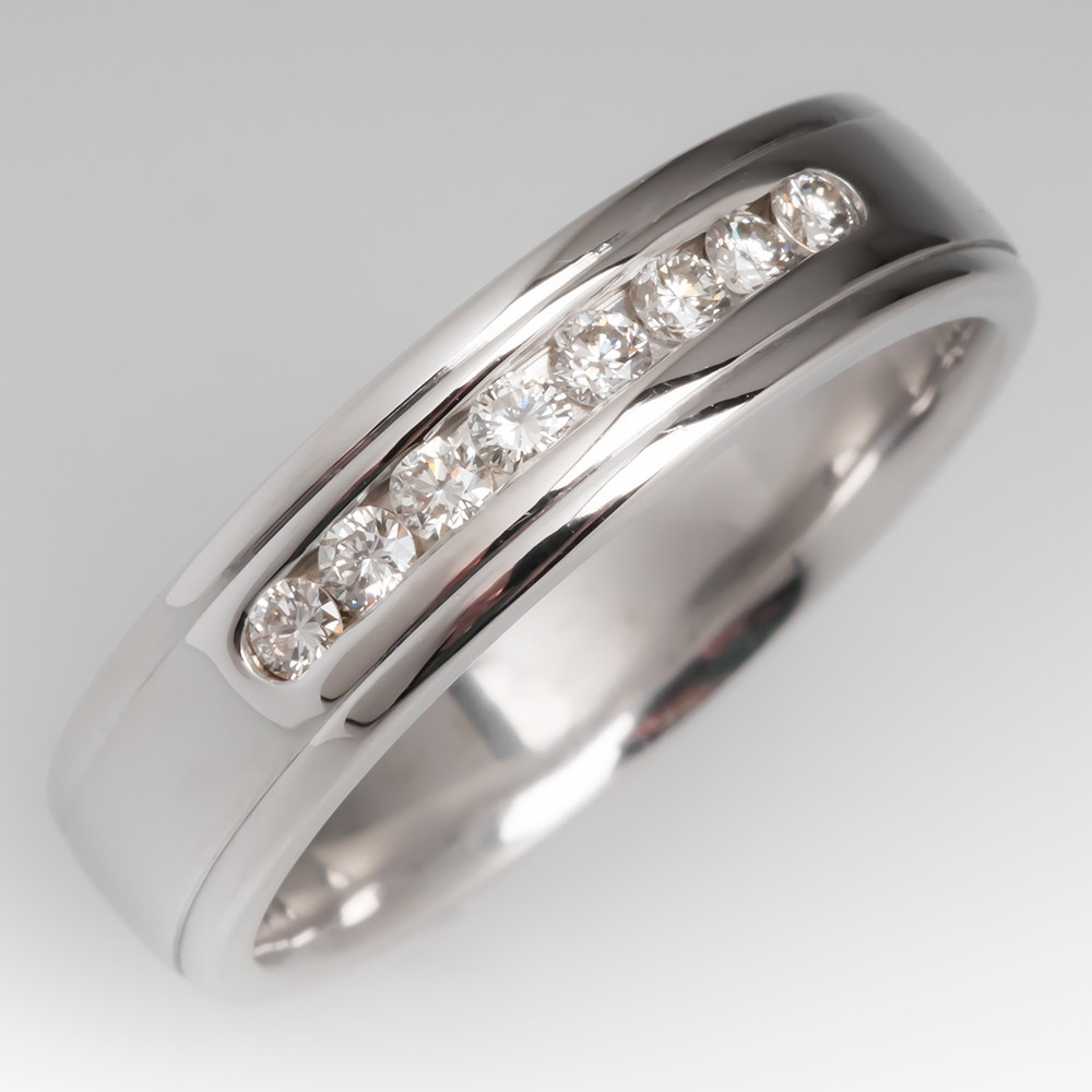 Mens Diamond Wedding Band 14K White Gold