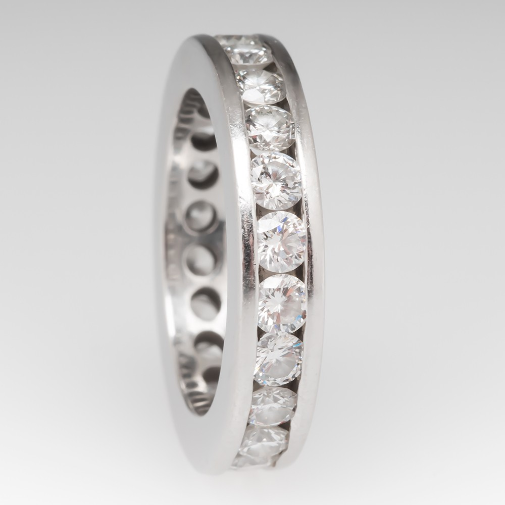 Heavy Platinum Diamond Eternity Wedding Band 2.86 Carats