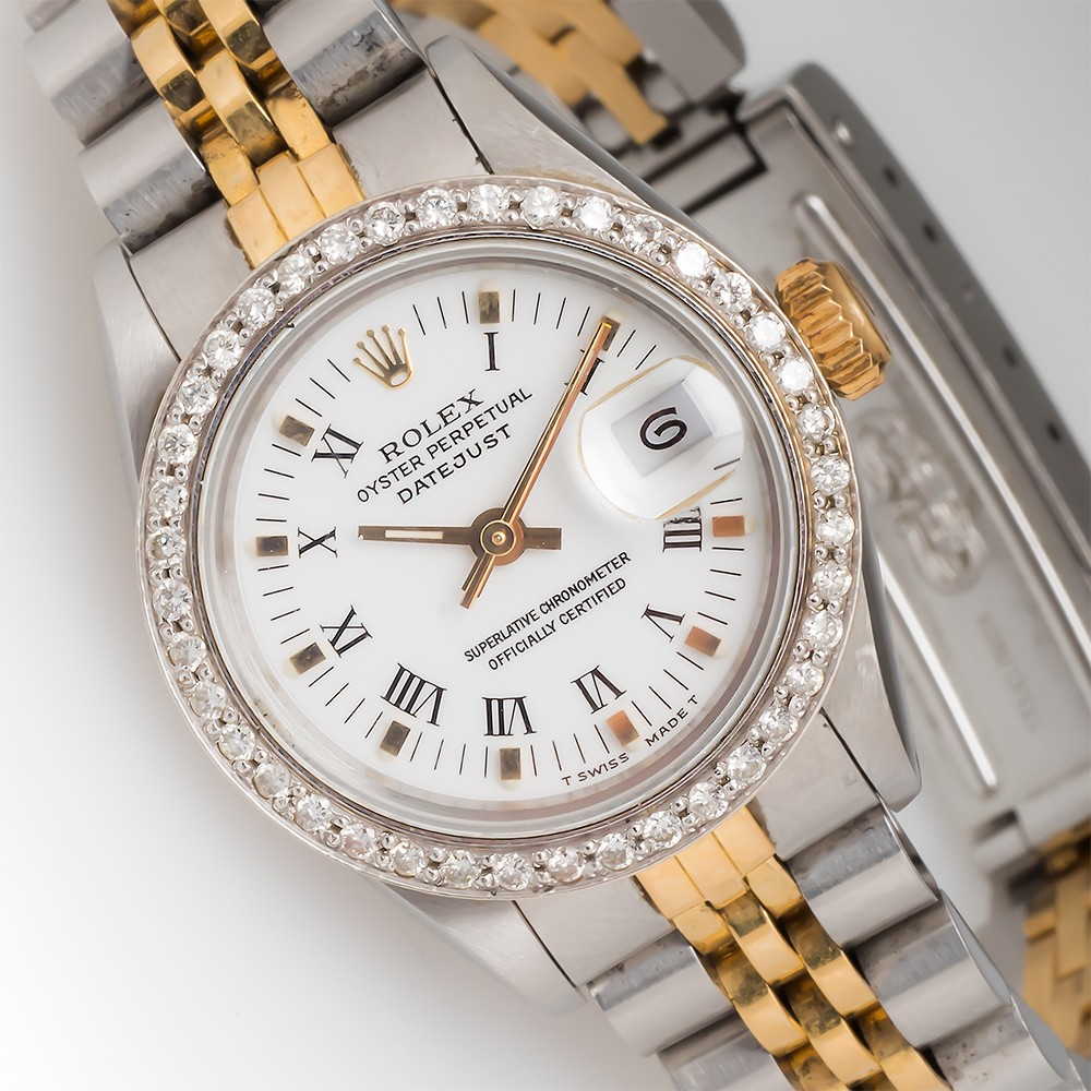 Ladies Two-Tone Rolex Datejust Watch 69173 Diamond Bezel