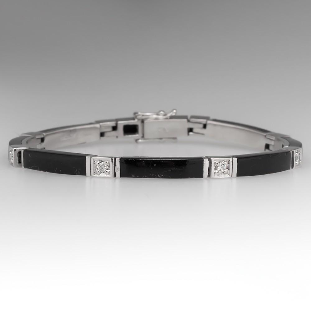 Bernard K Passman Princess Bracelet Black Coral Diamond Platinum