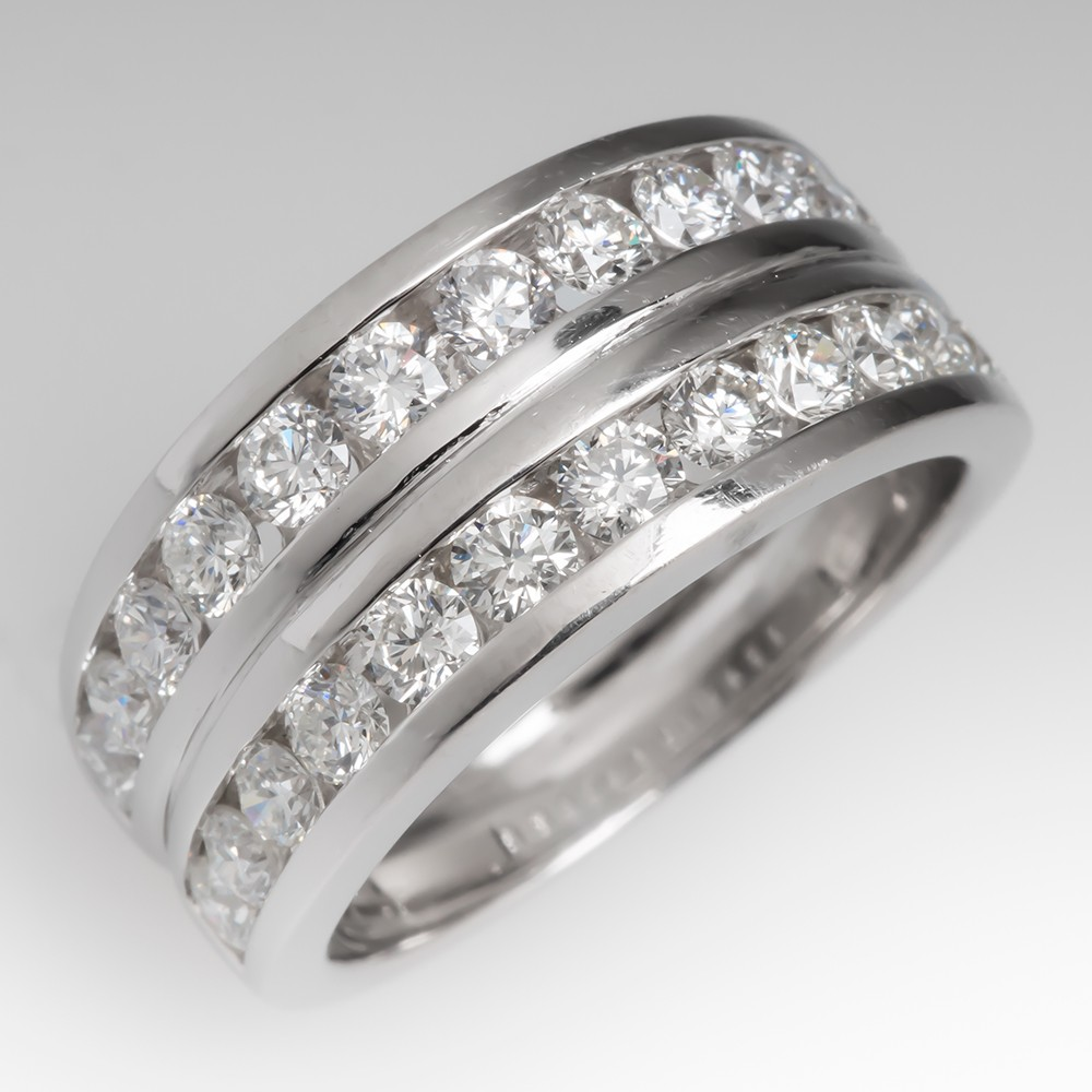 Platinum Two Row Diamond Anniversary Band Over 2 Carats Total