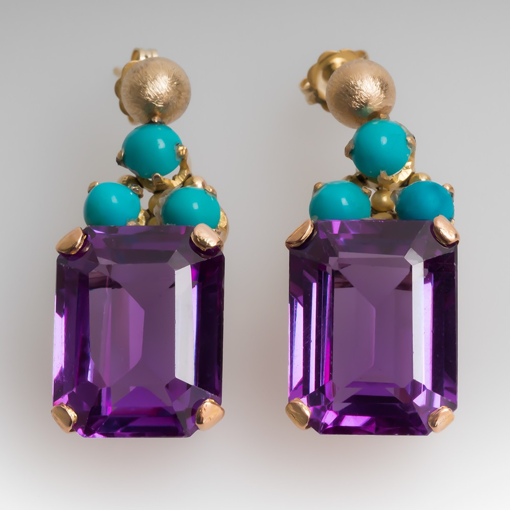 Vintage Lab Created Sapphire Earrings w/ Turquoise Accents 18K