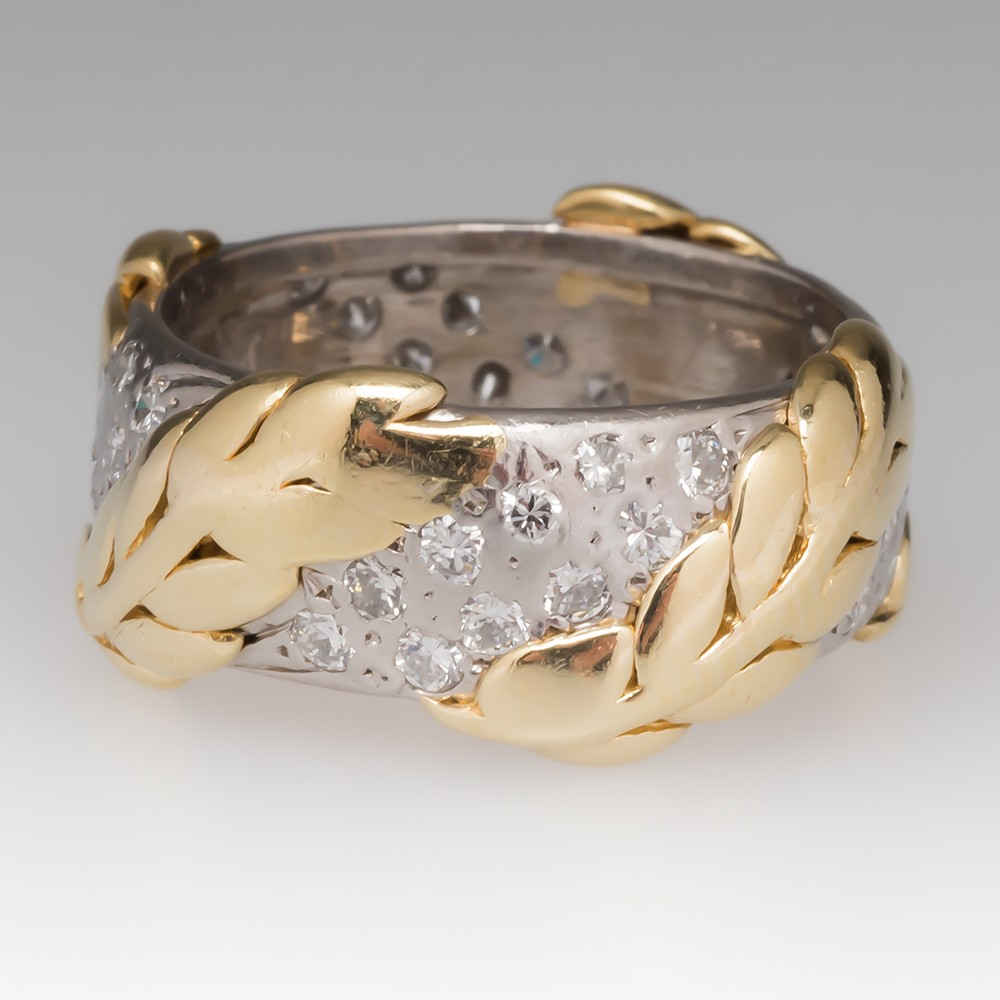 Platinum & 18K Gold Two Tone Diamond Wide Band Leaf Ring