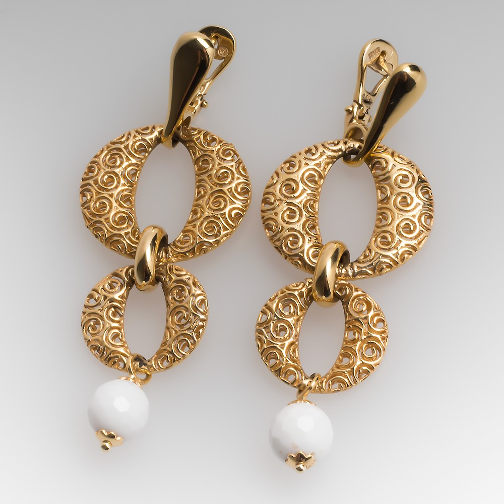 Openwork 14K Yellow Gold Drop Earrings w/ White Agate Beads