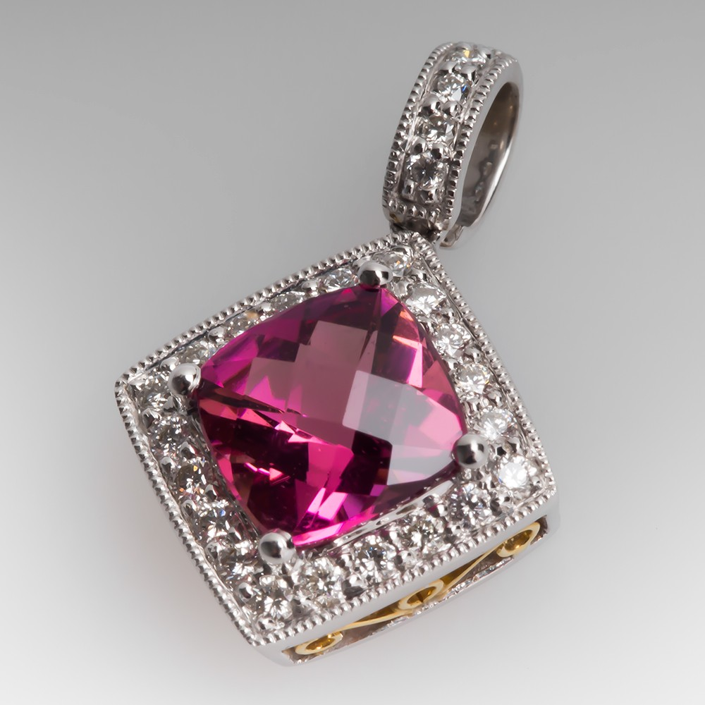 Simon G Pink Tourmaline Pendant with Diamonds 18K Gold
