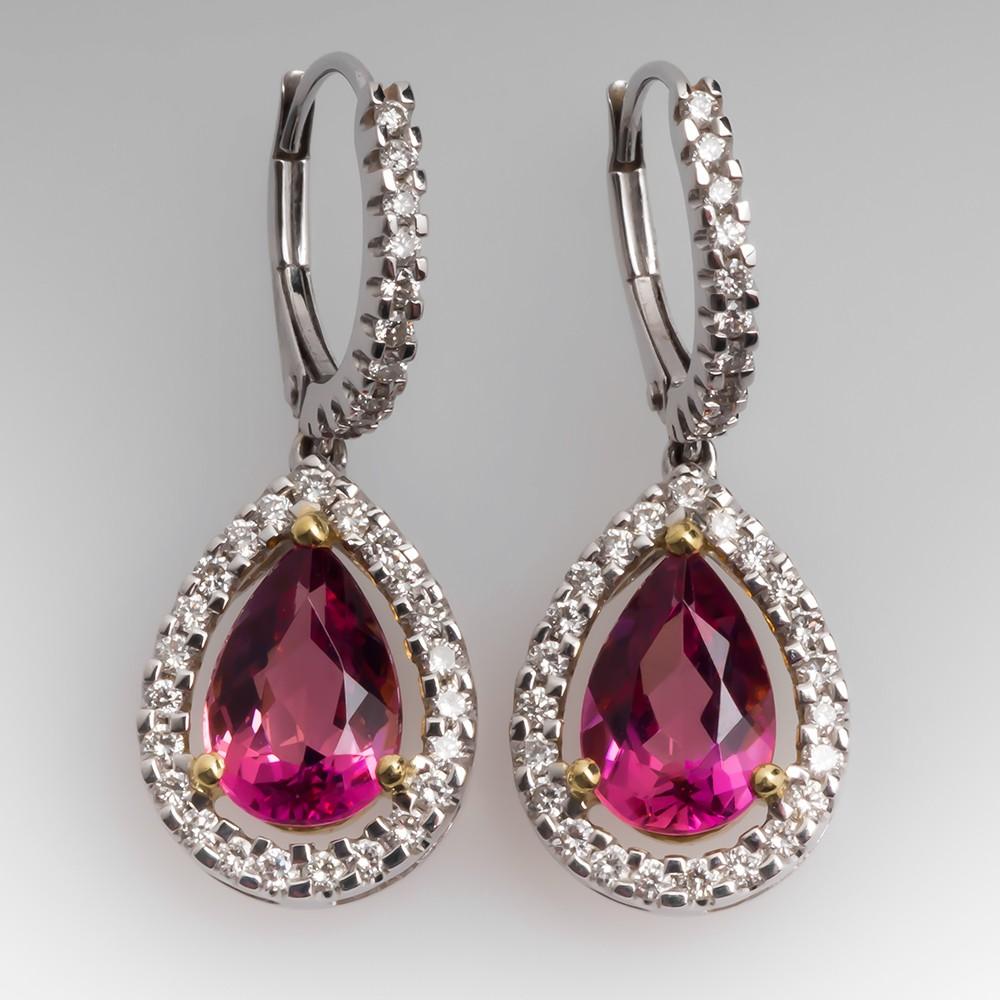 Simon G Pink Tourmaline Earrings Diamond 18K White Gold
