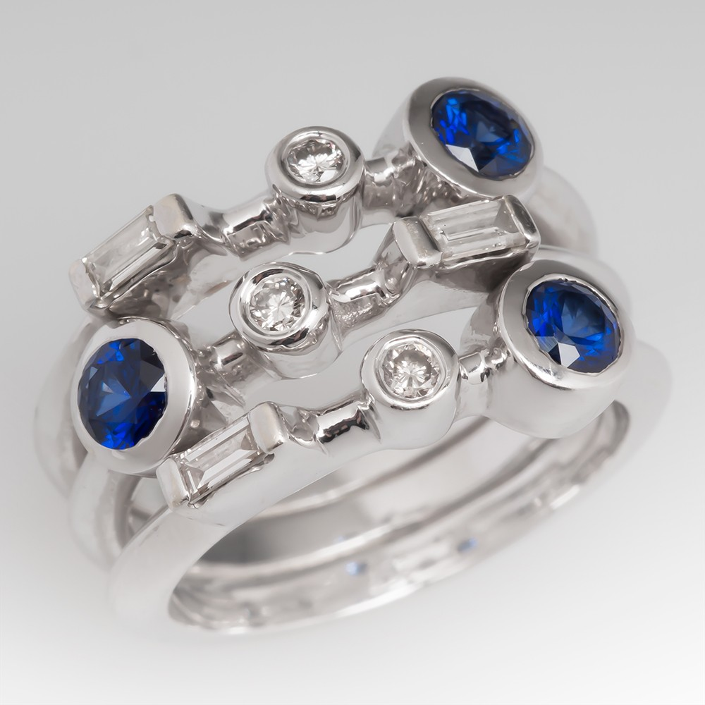 Blue Sapphire & Diamond Stacking Bands Cocktail Ring 18K White Gold