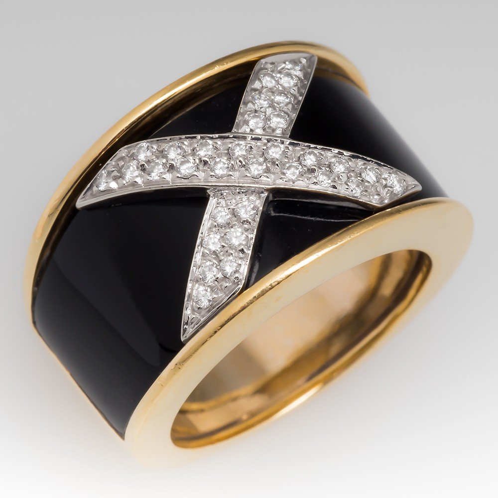 Diamond & Onyx Wide Band 18K Gold Cocktail Ring